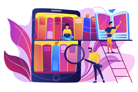 Illustration pour Tablet with bookshelves and students searching and reading information. Digital learning, online database, content storing and searching, ebooks concept, violet palette. Vector isolated illustration. - image libre de droit