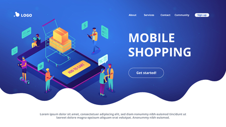 Illustration for Isometric users buying online with tablets and shopping cart with boxes landing page. Online internet store, e-commerce and marketing concept. Blue violet background. Vector 3d isometric illustration. - Royalty Free Image