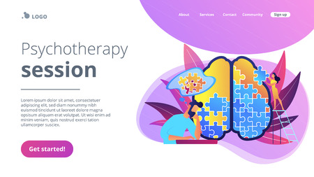 Illustration pour Man doing human brain puzzle. Psychotherapy session landing page. Psychology and mental healing, wellbeing and therapist counselling, mental difficulty violet palette. Vector isolated illustration. - image libre de droit