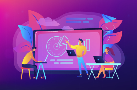Illustration pour Students with laptops sitting around lector behind interactive board. Digital classroom, flipped class, smart classroom. Modern education concept.Vector illustration on ultraviolet background - image libre de droit