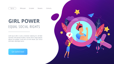 Illustration pour A woman image in female gender sign showing biceps as a concept of feminism, girl power, movement, female equality, equal social and civil rights. Violet palette. Website landing web page template. - image libre de droit