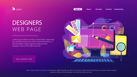 Illustration for Designers are working on the desing of web page. Web design, User Interface UI and User Experience UX content organization. Web design development concept. Website landing web page template. - Royalty Free Image