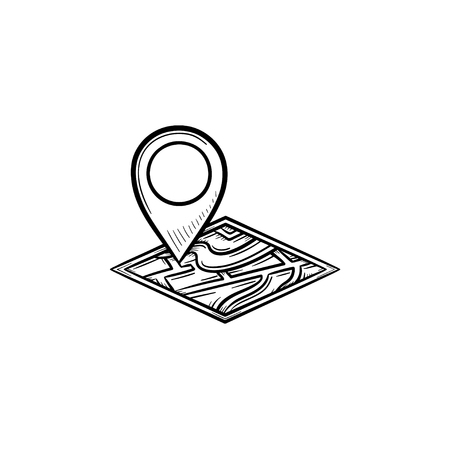 Illustration pour Map pin hand drawn outline doodle icon. Address and map pin, mobile pointer and locator, navigation concept. Vector sketch illustration for print, web, mobile and infographics on white background. - image libre de droit