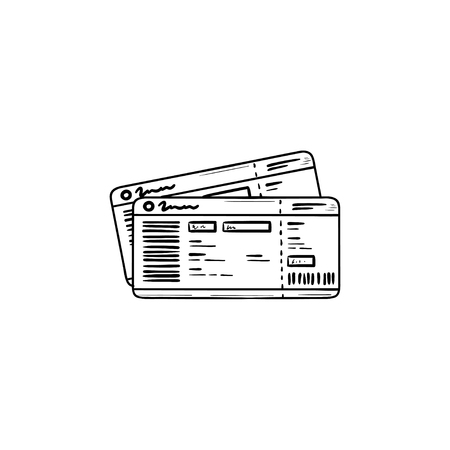 Illustration for Bus tickets hand drawn outline doodle icon. Travel by bus, tourism and business trip, bus pass concept. Vector sketch illustration for print, web, mobile and infographics on white background. - Royalty Free Image