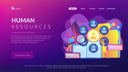 Illustration pour Human resourses managers doing professional staff research with magnifier. Human resources, HR team work and headhunter service concept. Website vibrant violet landing web page template. - image libre de droit