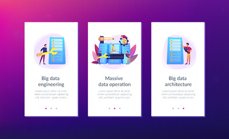 Engineers consolidating and structuring data in the center. Big data engineering, massive data operation, big data architecture concept. Mobile UI UX GUI template, app interface wireframe