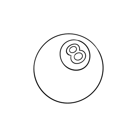 Illustration pour Pool eight ball hand drawn outline doodle icon. Billiard competition, recreation, pool game object concept. Vector sketch illustration for print, web, mobile and infographics on white background. - image libre de droit