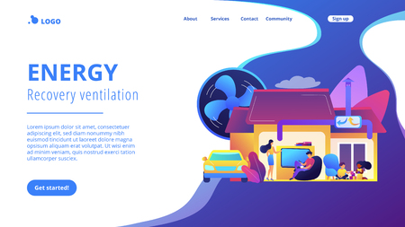 Illustration pour Family with children in house with air ventilation system. Ventilation system, energy recovery ventilation, airing system cleaning concept. Website vibrant violet landing web page template. - image libre de droit