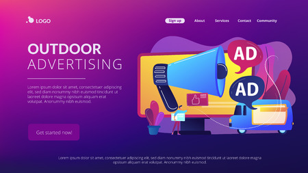 Illustration pour Marketer with outdoor advertisements from loudspeaker and on the van. Outdoor advertising design, out of home media, outdoor advertising concept. Website vibrant violet landing web page template. - image libre de droit