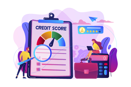 Ilustración de Tiny people analysts evaluating ability of prospective debtor to pay the debt. Credit rating, credit risk control, credit rating agency concept. Bright vibrant violet vector isolated illustration - Imagen libre de derechos