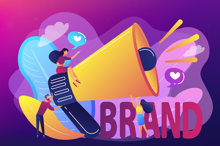 Ilustración de Marketers with megaphone conducting brand awareness campaign. Brand awareness, product research result, marketing survey metrics concept. Bright vibrant violet vector isolated illustration - Imagen libre de derechos