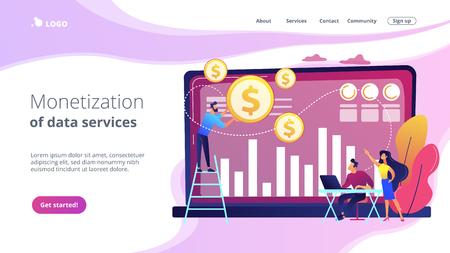 Illustration pour Data monetization concept landing page. - image libre de droit