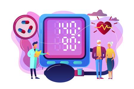Ilustración de Doctor, elderly couple at tonometer hight blood pressure, tiny people. High blood pressure, hypertension disease, blood pressure control concept. Bright vibrant violet vector isolated illustration - Imagen libre de derechos