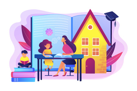Illustration pour Children at home with tutor or parent getting education, tiny people. Home schooling, home education plan, homeschooling online tutor concept. Bright vibrant violet vector isolated illustration - image libre de droit