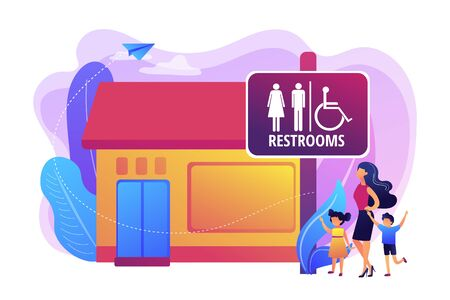 Illustration pour Mother with kids going to wc, bathroom. Rest room sign. Public restrooms, public toilet facilities, public restroom rules and regulations concept. Bright vibrant violet vector isolated illustration - image libre de droit