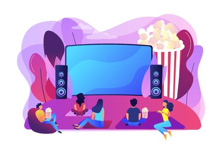 Illustration pour Movie night with friends. Watching film on big screen with sound system. Open air cinema, outdoor movie theater, backyard theater gear concept. Bright vibrant violet vector isolated illustration - image libre de droit