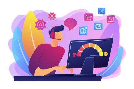 Illustration pour Clients assistance, call center, hotline operator, consultant manager. Customer care, seamless and personalized service, customer experience concept. Bright vibrant violet vector isolated illustration - image libre de droit