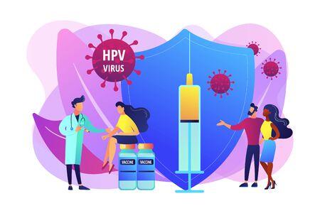 Illustration pour HPV vaccination concept vector illustration - image libre de droit