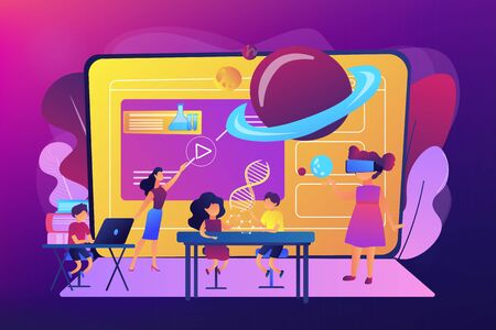 Illustration pour Futuristic classroom, little children study with high tech equipment. Smart spaces at school, AI in education, learning management system concept. Bright vibrant violet vector isolated illustration - image libre de droit