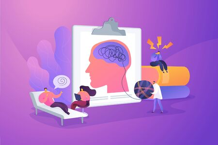 Illustration pour Psychotherapy practice, psychiatrist consulting patient. Mental disorder treatment. Psychologist service, private counseling, family psychology concept. Vector isolated concept creative illustration - image libre de droit