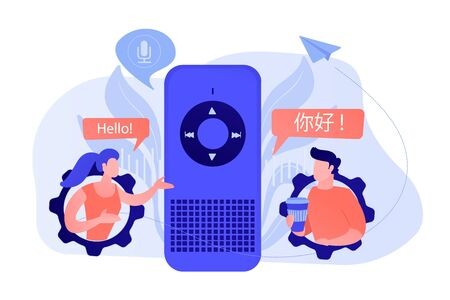 Illustration pour Voice assistant translating into foreign languages. Voice activated digital assistants, smart speaker language support, internet of things concept. Vector isolated illustration. - image libre de droit