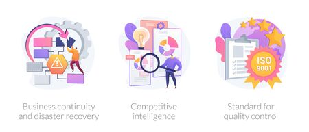 Illustration pour Company success guarantees. Business continuity and disaster recovery, competitive intelligence, standard for quality control metaphors. Vector isolated concept metaphor illustrations. - image libre de droit