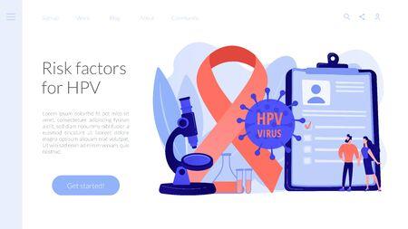 Illustration pour Risk factors for HPV concept landing pageation - image libre de droit