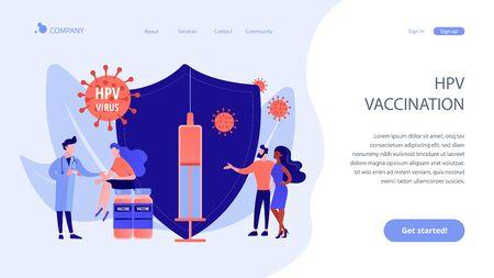 Illustration pour HPV vaccination concept landing pageation - image libre de droit