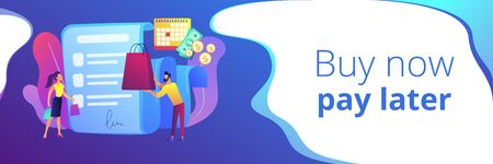 Illustration pour Installment purchase offer, shopping business, convenient customer service. Deferment of payment, net payment terms, buy now pay later concept. Header or footer banner template with copy space. - image libre de droit