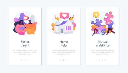 Illustration pour Caregiving and social support services app interface template. - image libre de droit