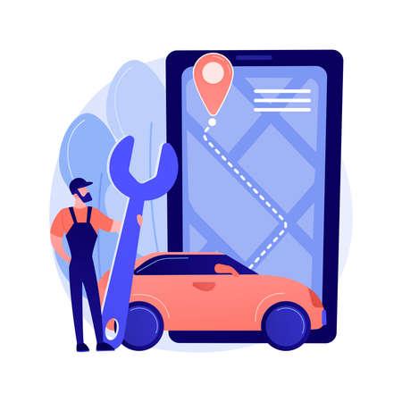 Illustration pour Roadside service abstract concept vector illustration. - image libre de droit