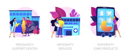 Illustration for Pregnancy and maternity vector concept metaphors. - Royalty Free Image