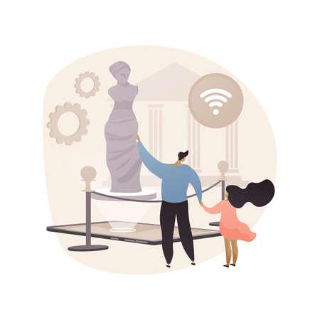Illustration pour Online museum tours abstract concept vector illustration. - image libre de droit