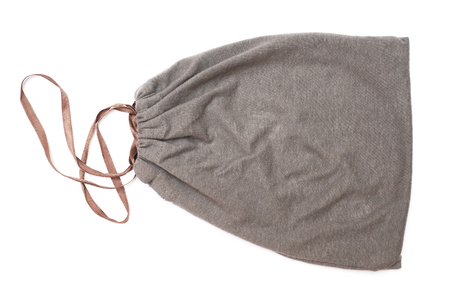 grey drawstring pouch with brown ribbon on white background, top view