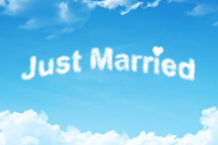 Just married - white cloud word on blue sky