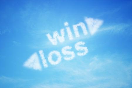 Photo pour win loss cloud text on with arrow blue sky, business concept - image libre de droit