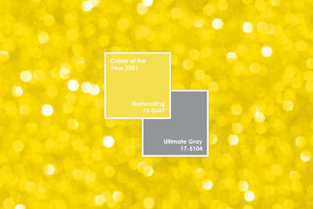 Photo for Abstract golden yellow blurred glitter background. Circle defocused lights bokeh. Color of the year 2021 Illuminating Yellow with frame and text - Royalty Free Image