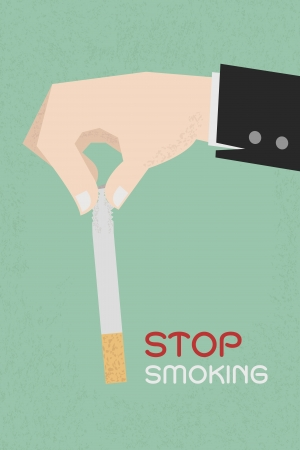 Stop smoking, human hands breaking the cigarette  , eps10 vector format