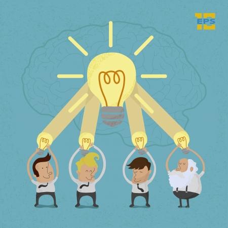 Illustration pour Business man brainstorming , eps10 vector format - image libre de droit