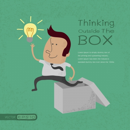 Businessman thinking outside the box , eps10 vector format