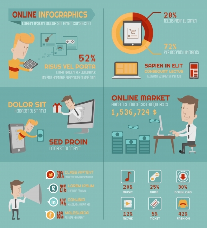 Online shopping infographics elements , eps10 vector format