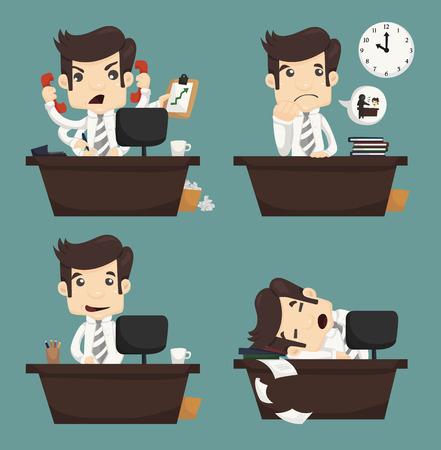 Ilustración de Set of businessman sitting on desk , office worker , eps10 vector format - Imagen libre de derechos
