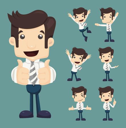 Illustration pour Set of businessman characters poses , eps10 vector format - image libre de droit