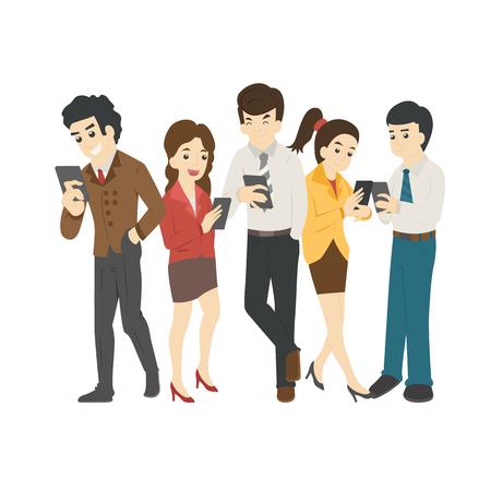 Illustration pour Businessman and woman looking at their phones - image libre de droit