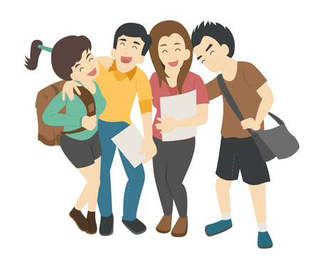 Group of smiling teenage students  , eps10 vector format