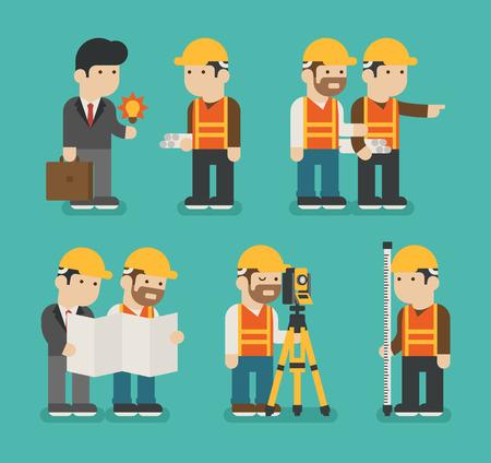 Illustration pour Set of construction worker , vector format - image libre de droit