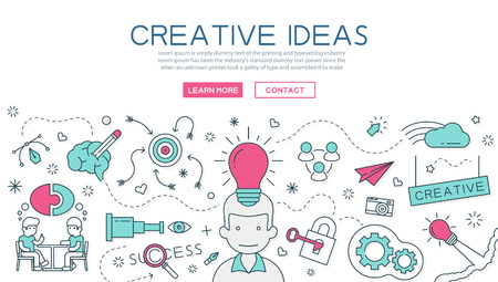 Ilustración de Creative Idea for website banner and landing page - Imagen libre de derechos