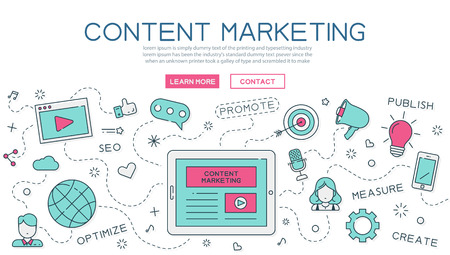 Content, marketing for website banner and landing page