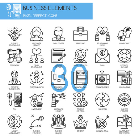 Illustration for Business Elements, thin line icons set - Royalty Free Image