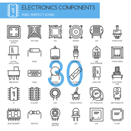 Electronic components , thin line icons set ,pixel perfect icons